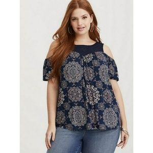 NWT Torrid Navy Lace Yoke Cold Shoulder Top 6